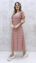 Kalp Yaka Çiçekli Elbise - Pembe