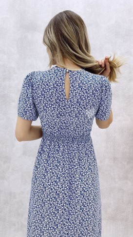 Çıtır Desen Tek Yırtmaç Elbise - Mavi