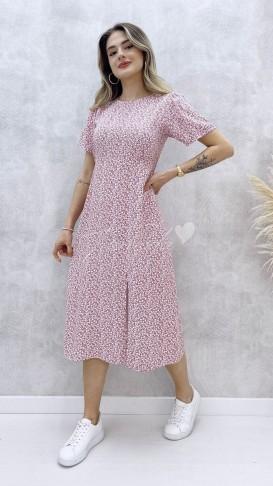 Çıtır Desen Tek Yırtmaç Elbise - Pembe
