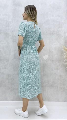 Çıtır Desen Tek Yırtmaç Elbise - Mint