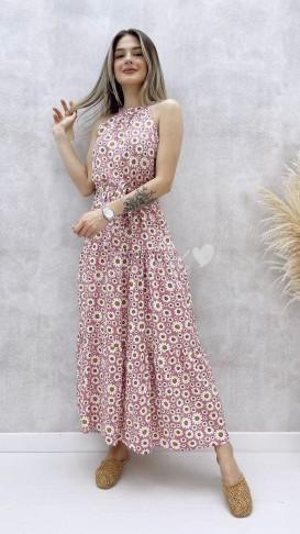 Halter Yaka Papatya Elbise - Pembe