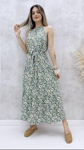 Halter Yaka Papatya Elbise - Mint