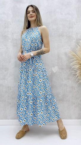 Halter Yaka Papatya Elbise - Bebe Mavi