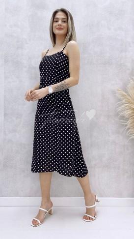 Askılı Puantiye Desen Elbise - Siyah