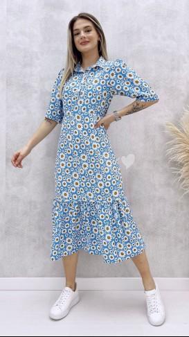 Gömlek Yaka Papatya Elbise - Bebe Mavi
