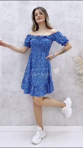 Gipeli Yaka Bağcıklı Elbise - Mavi