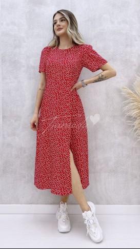 Kalp Desen Yırtmaçlı Elbise - Kırmızı