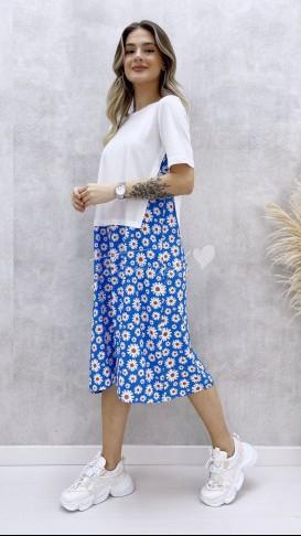 Tshirt Detay Papatya Elbise - Mavi