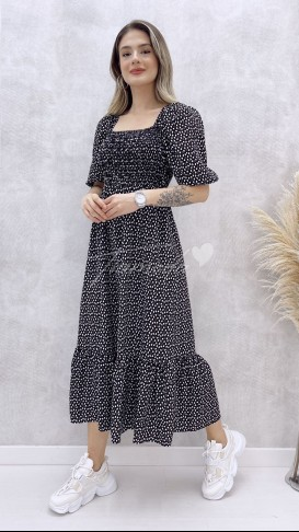 Gipeli Kalp Desen Elbise - Siyah