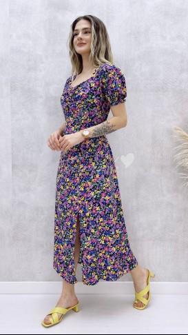 Çiçek Desen Göğüs Büzgülü Elbise - Mor