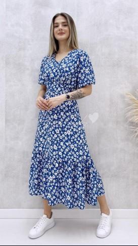 Korsajlı Elbise - Mavi
