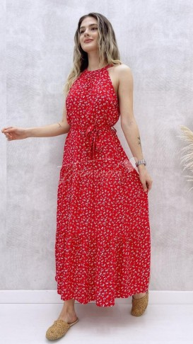 Halter Yaka Elbise - Kırmızı