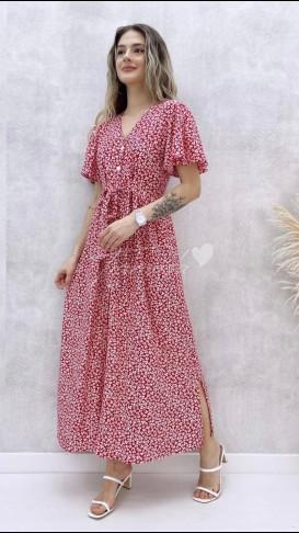 Kol Volanlı Düğmeli Elbise - Kırmızı