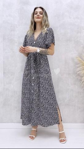 Kol Volanlı Düğmeli Elbise - Siyah