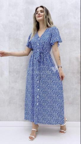 Kol Volanlı Düğmeli Elbise - Mavi