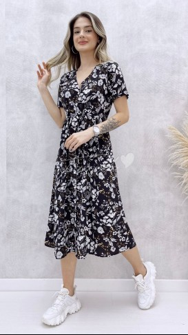 Bel Bağlamalı Yaprak Desen Elbise - Siyah