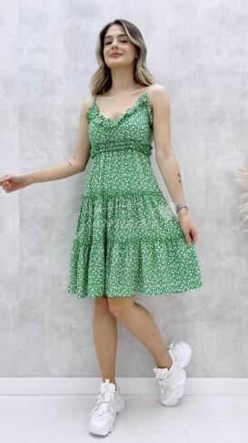 Askılı Kloş Elbise - Yeşil