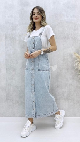 Denim Salopet Elbise