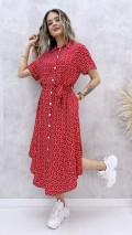 Eteği Asimetrik Gömlek Elbise - Kırmızı