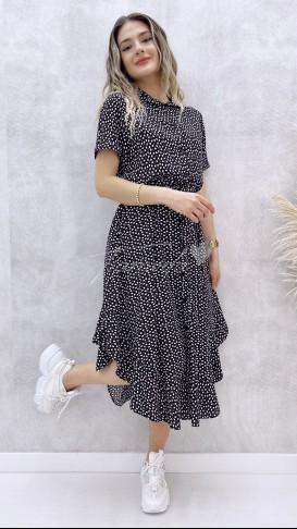 Eteği Asimetrik Gömlek Elbise - Siyah