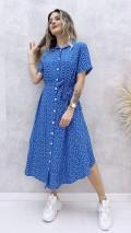 Eteği Asimetrik Gömlek Elbise - Mavi
