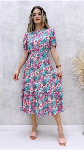 Kendinden Kemerli Çiçekli Elbise - Lila