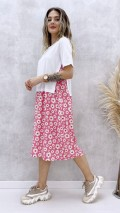 Tshirt Detay Papatya Elbise - Pembe