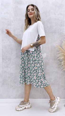 Tshirt Detay Papatya Elbise - Yeşil
