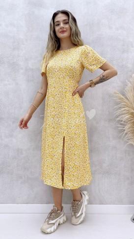 Küçük Papatyalı Elbise - Sarı