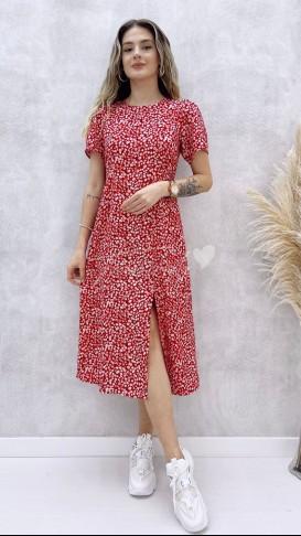 Küçük Papatyalı Elbise - Kırmızı