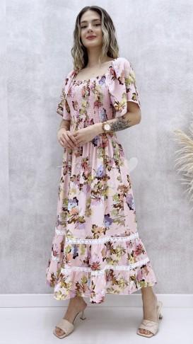 Pelerin Kol Çiçekli Elbise
