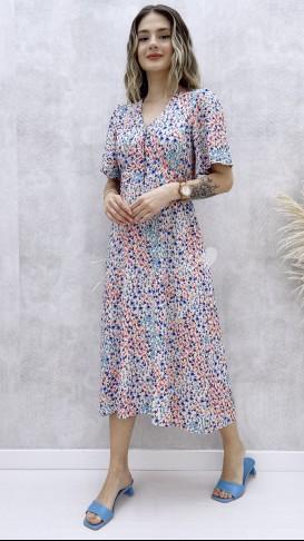 Yakası Kopçeli Desenli Elbise - Mavi