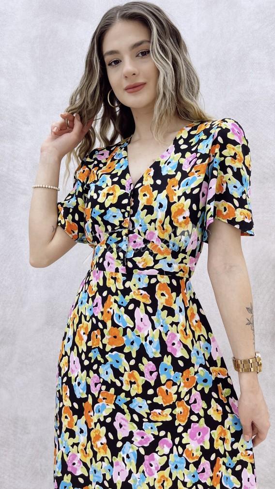 Yakası Kopçeli Desenli Elbise - Renkli