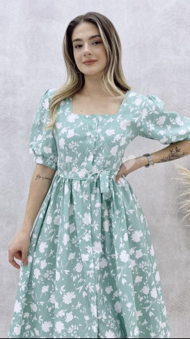 Prenses Kol Poplin Elbise - Mint Yeşil