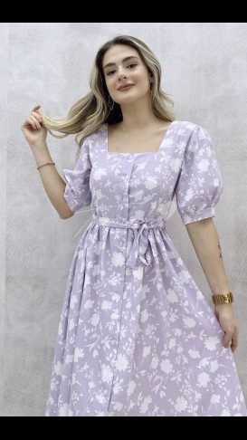 Prenses Kol Poplin Elbise - Lila