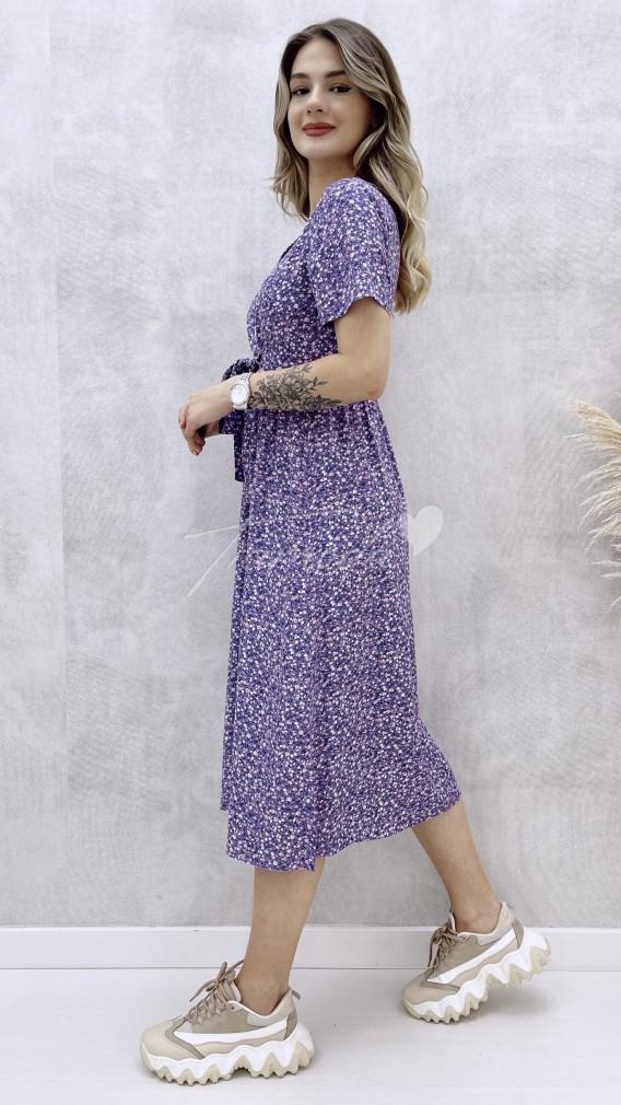 Beli Kuşaklı Düğmeli Elbise - Lila