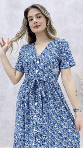 Beli Kuşaklı Düğmeli Elbise - Mavi