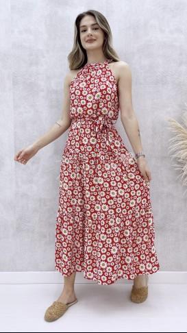 Halter Yaka Papatya Elbise - Kırmızı