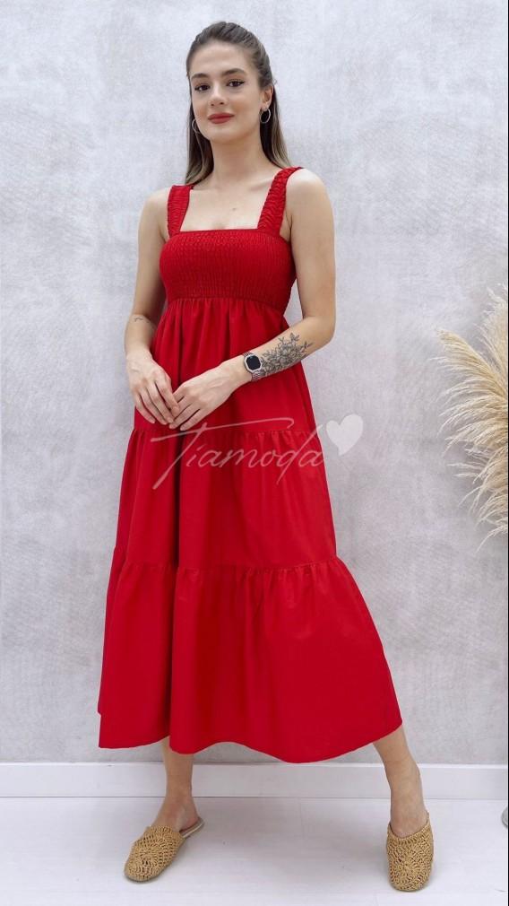 Askılı Poplin Elbise - Kırmızı