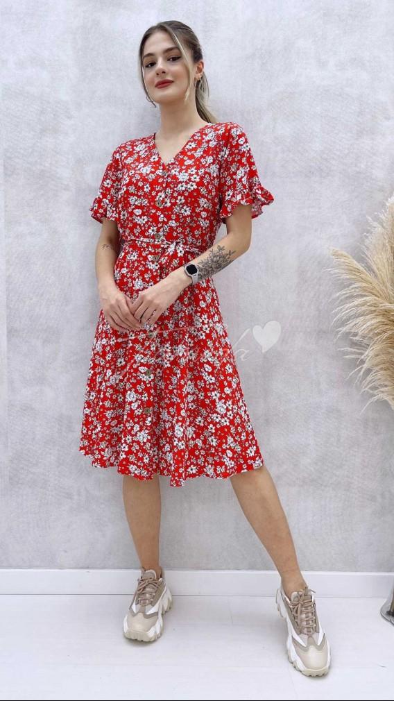 Ahşap Düğmeli Midi Elbise - Kırmızı