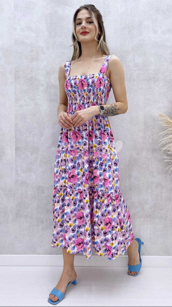 Askılı Desenli Elbise - Lila