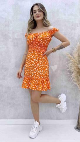 Çıtır Desen Mini Elbise - Turuncu