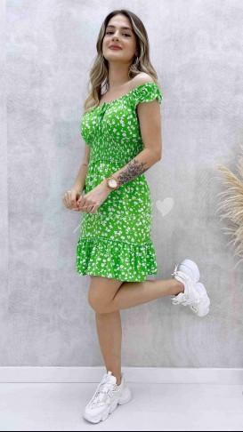 Çıtır Desen Mini Elbise - Yeşil