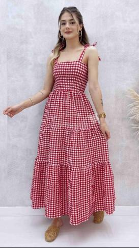 Omuz Bağlamalı Elbise - Kırmızı