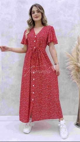 Kalp Desen Maksi Elbise - Kırmızı