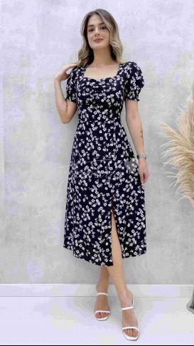 Kalp Yaka Beyaz Çiçekli Elbise - Siyah
