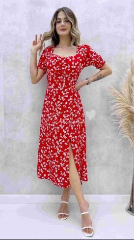 Kalp Yaka Beyaz Çiçekli Elbise - Kırmızı
