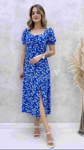 Kalp Yaka Beyaz Çiçekli Elbise - Mavi