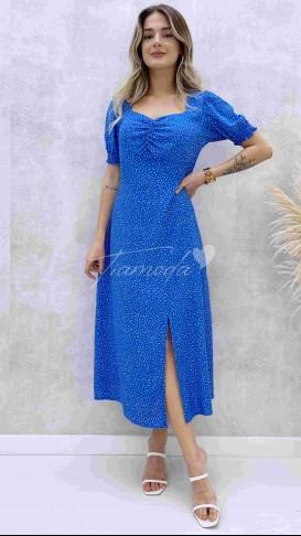 Çakıl Desen Göğüs Büzgülü Elbise - Mavi