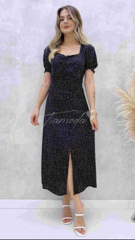 Çakıl Desen Göğüs Büzgülü Elbise - Siyah
